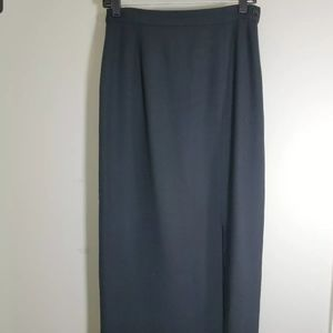 Talbots long black skirt front slit size 6